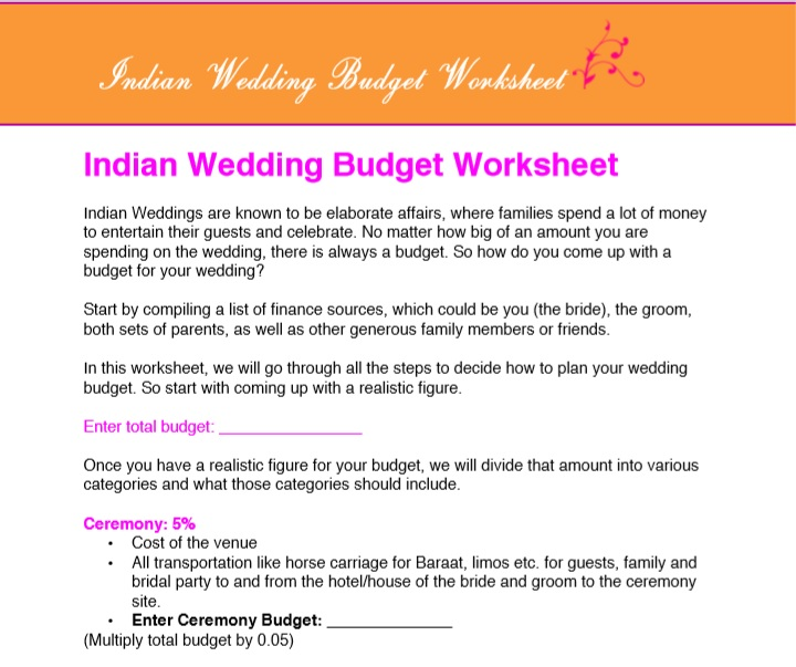 Indian sample wedding budget spreadsheet