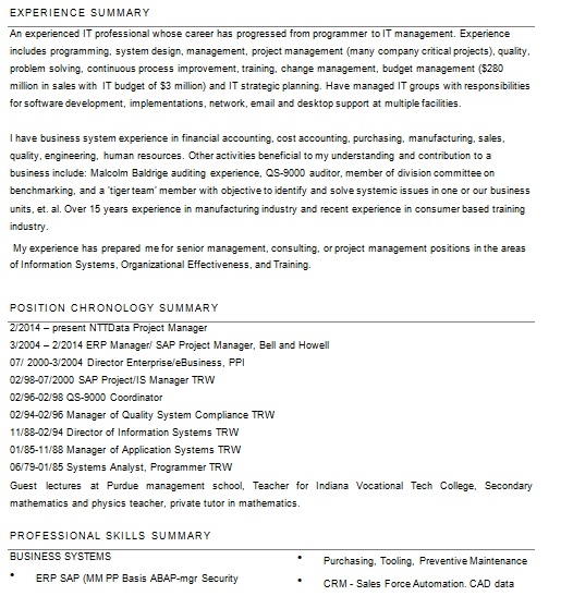 Project Manager Resume template for SAP