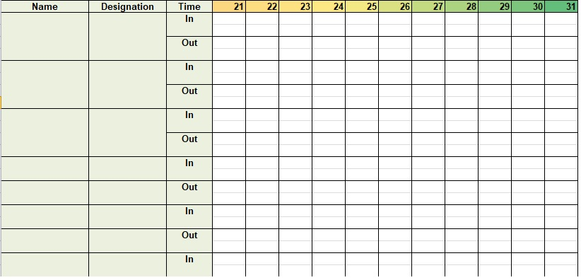 attendance sheet in excel with formula