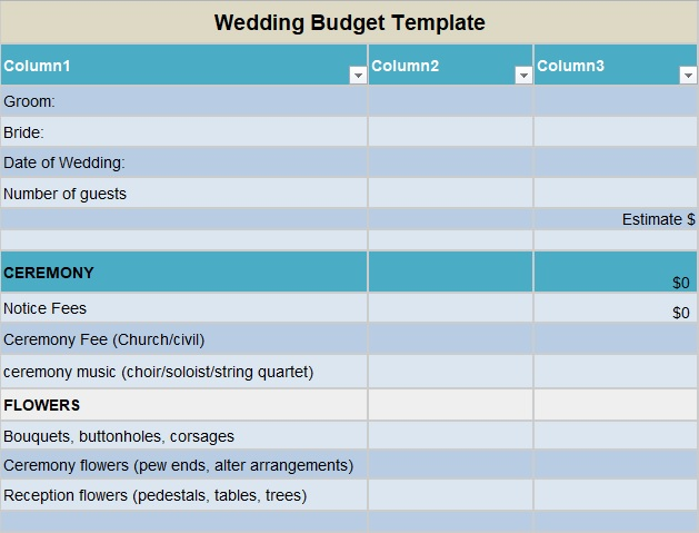 best wedding budget worksheet