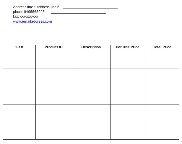 blank billing invoice template word
