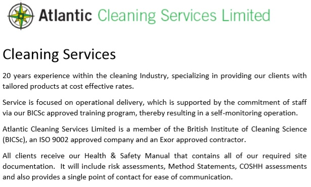cleaning company profile template