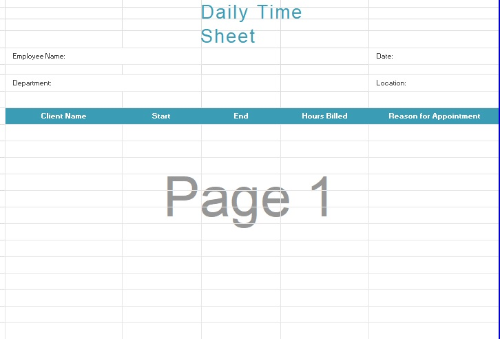 daily timesheet template free printable