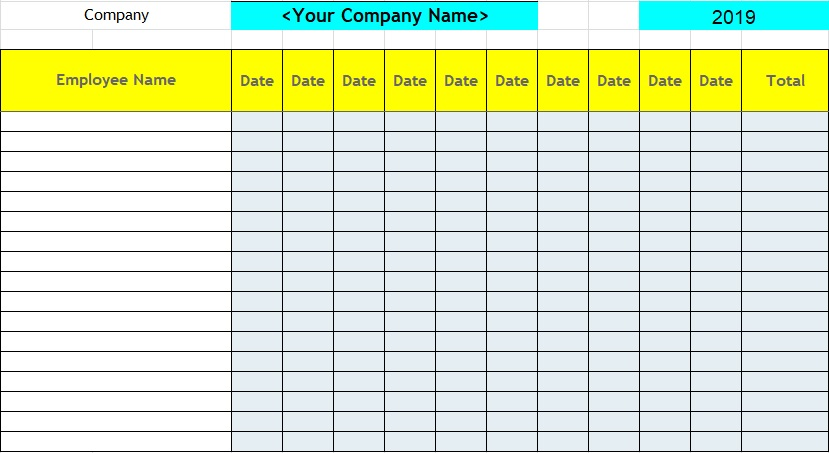 employee attendance record template excel
