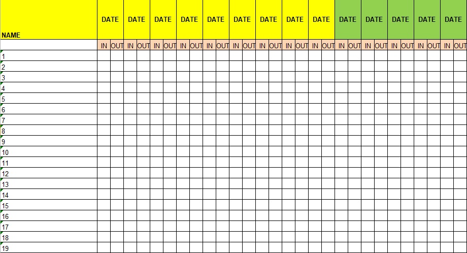 employee attendance sheet with time in excel
