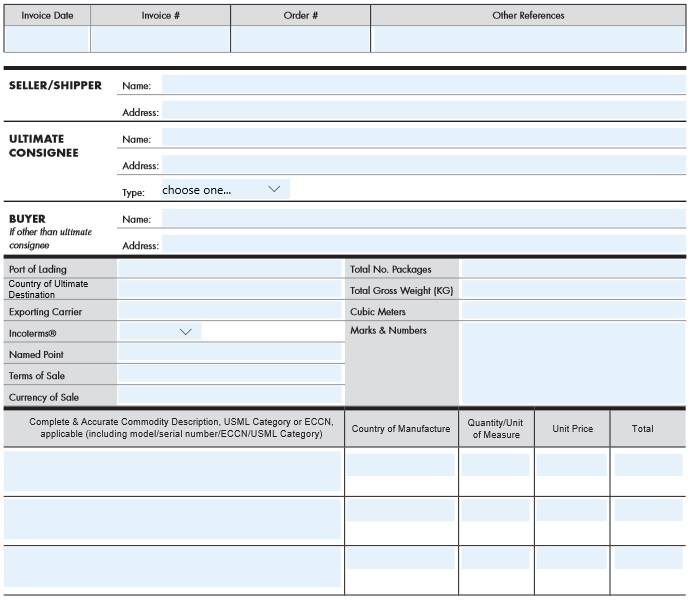 fillable commercial invoice template