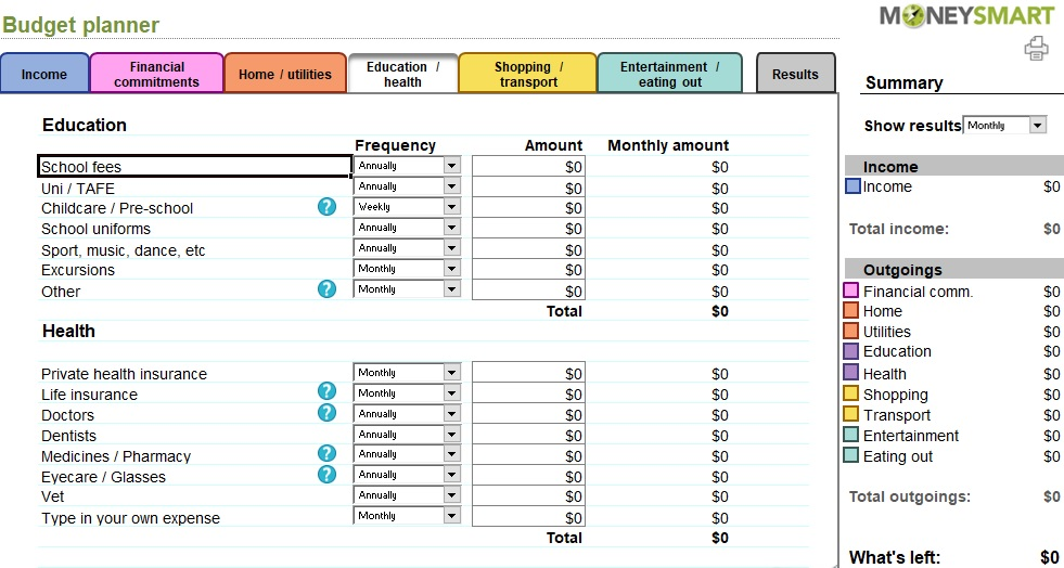 free monthly budget planner template