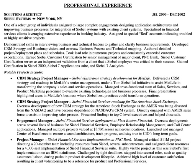 it project manager resume pdf