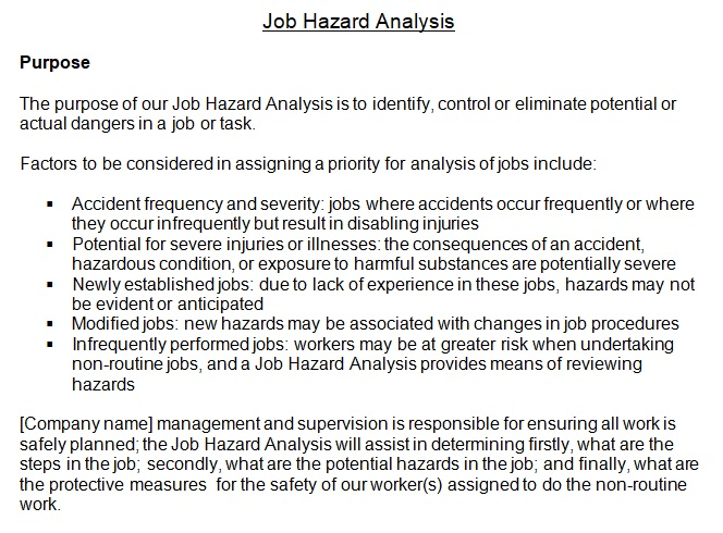 job hazard analysis checklist