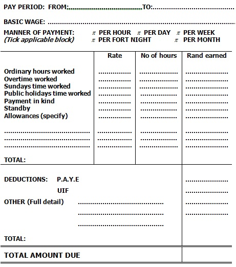 payslip template for taxi workers