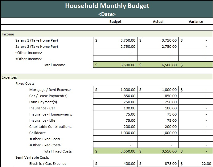 printable monthly household budget spreadsheet
