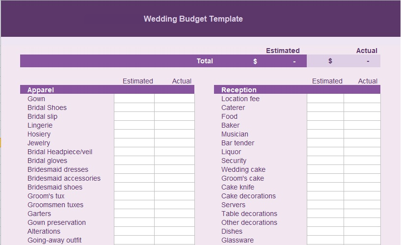 wedding budget spreadsheet free download