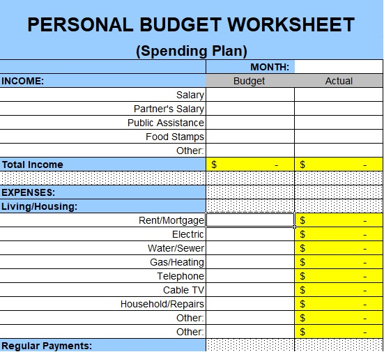 best family budget template