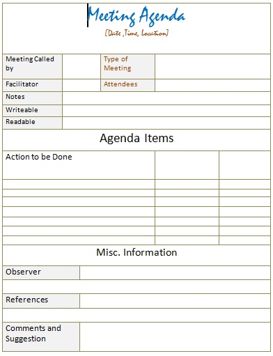 business meeting agenda example