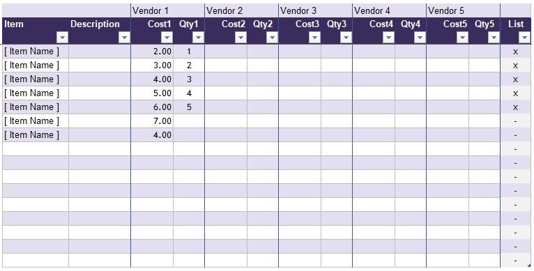 competitor price comparison excel template
