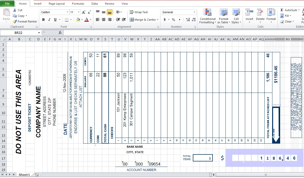 Bank deposit slip template excel excel tmp for Checking deposit slip template