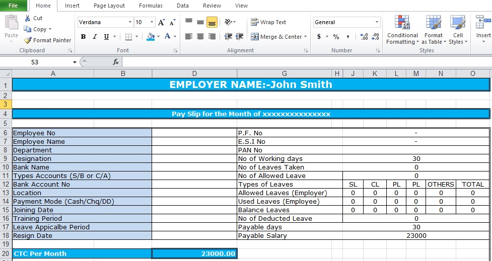 Bank Salary Slip Format Excel Template  Download Salary Slip Format