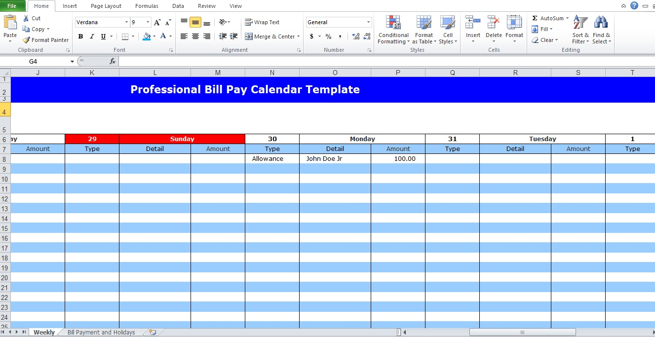 bill pay calendar template