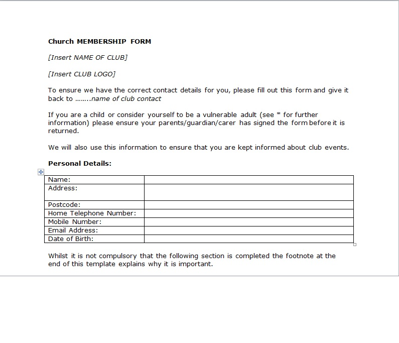 Blank Church Membership Word Template