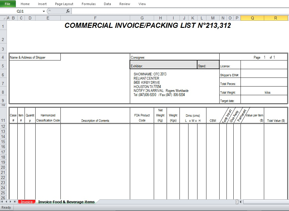 commercial invoice sample template excel tmp. Black Bedroom Furniture Sets. Home Design Ideas