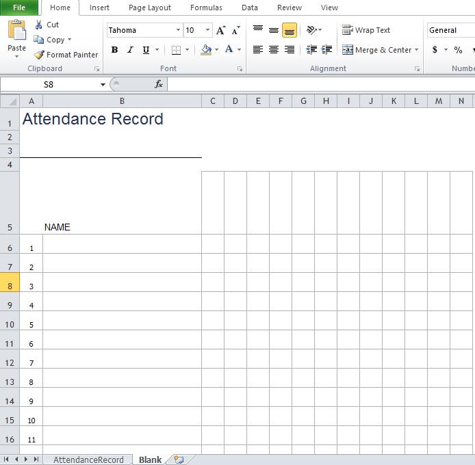 Blank Employee Attendance Sheet Template
