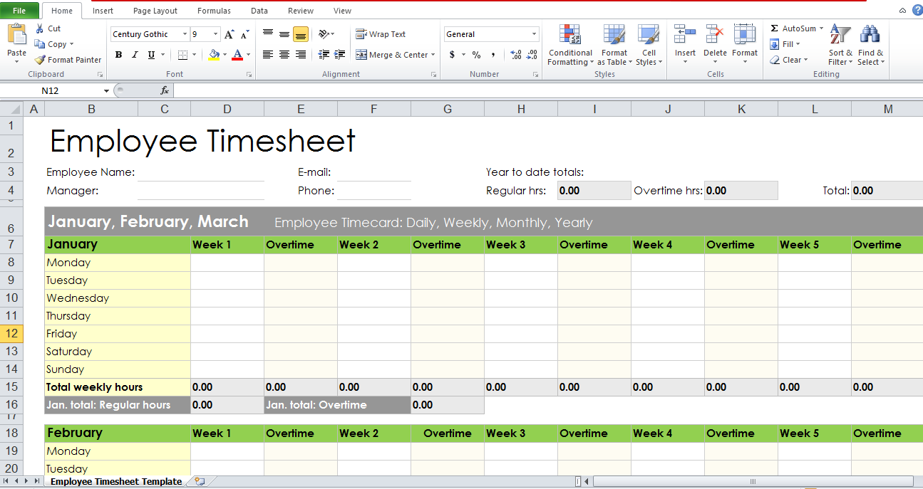 excel work timesheet template