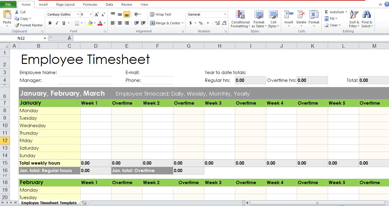 Blank Employee Timesheet Template - Excel Tmp