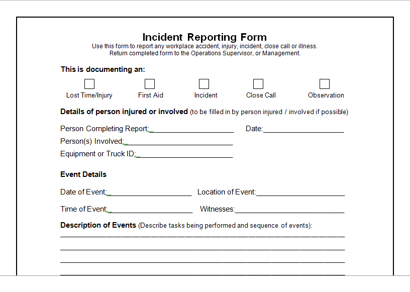 Blank Incident Report Form Template