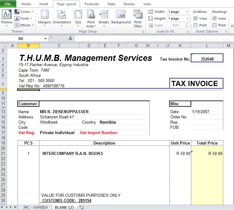 Blank Tax Invoice Excel Template XLS