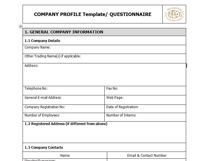 Sample of business company profile template excel tmp for How to make a company profile template