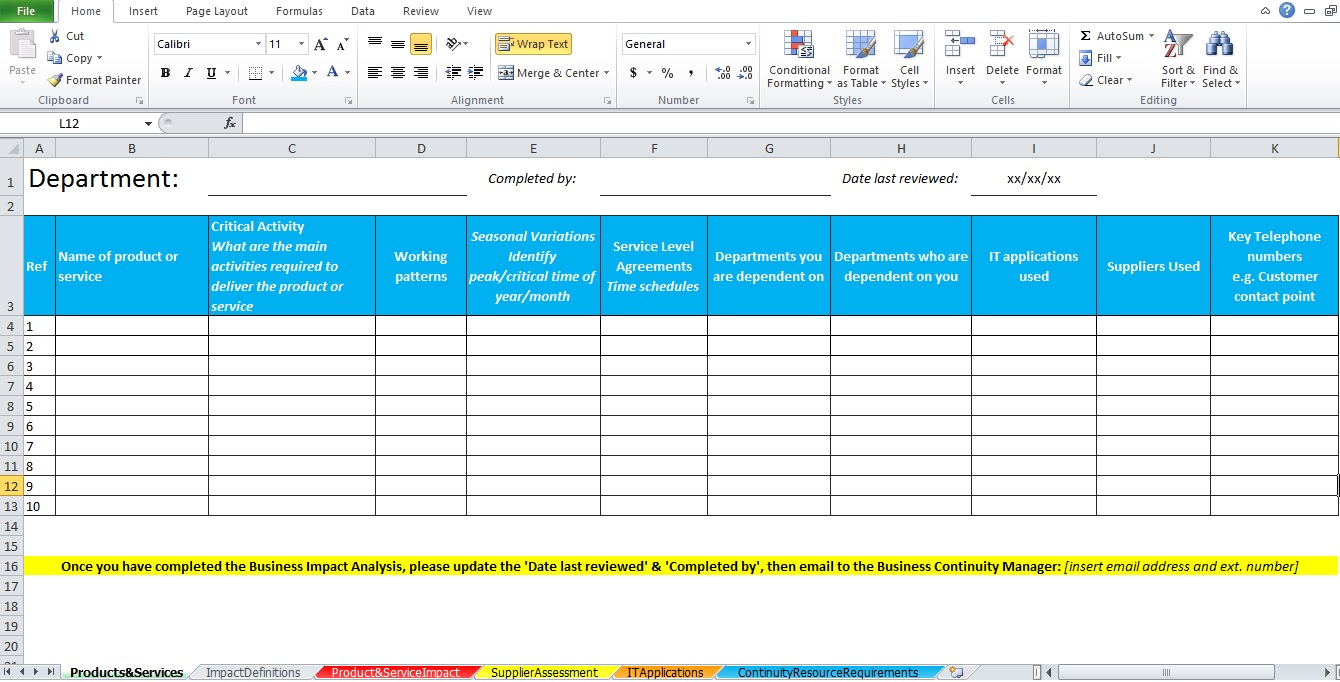 Business impact analysis template excel excel tmp for Change impact assessment template