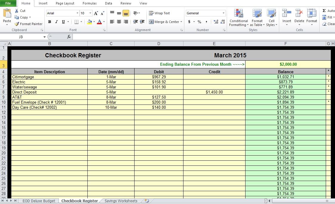 Checkbook Register Worksheet
