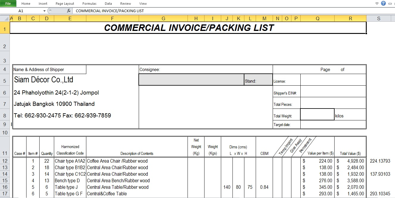 Commercial Invoice Excel Template Free Download