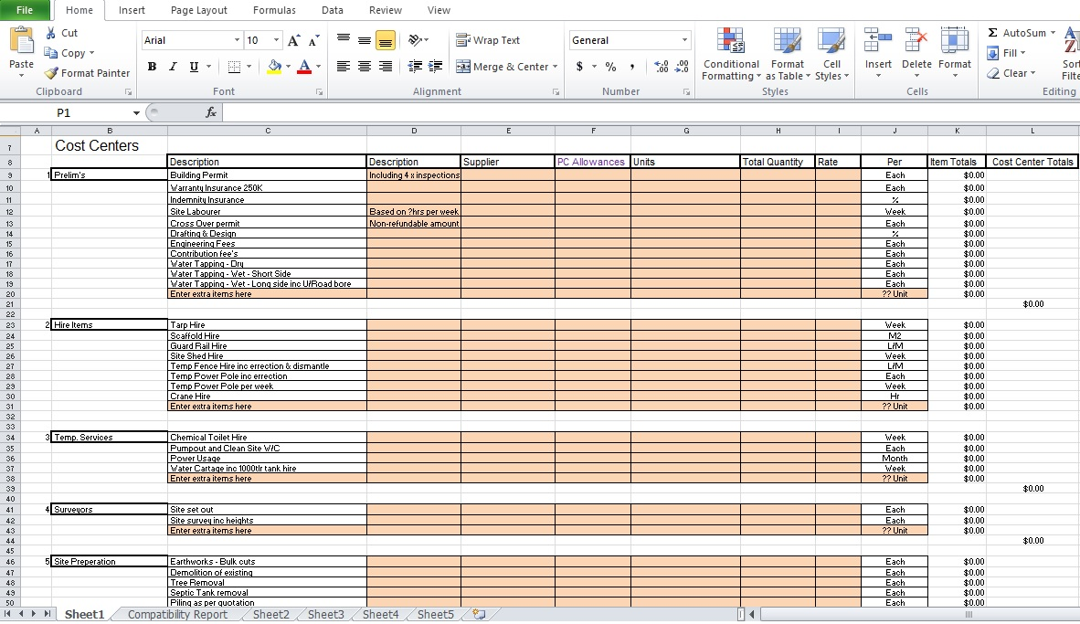 Contractor Estimate Template Excel