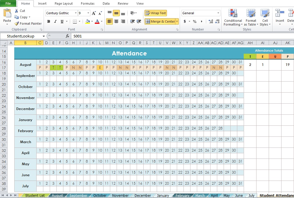 daily attendance tracker excel template for offices & companies