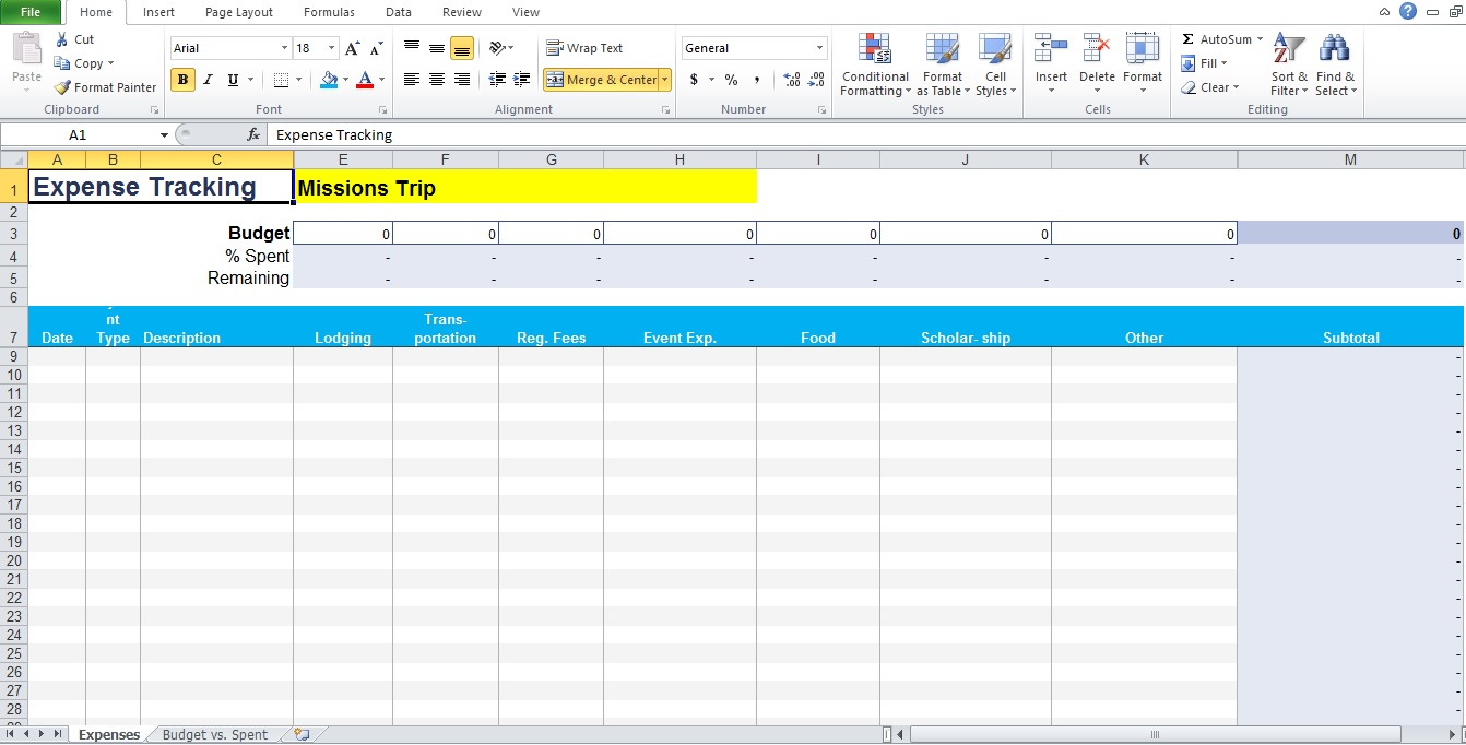 Daily Expense Tracker Template Excel Download