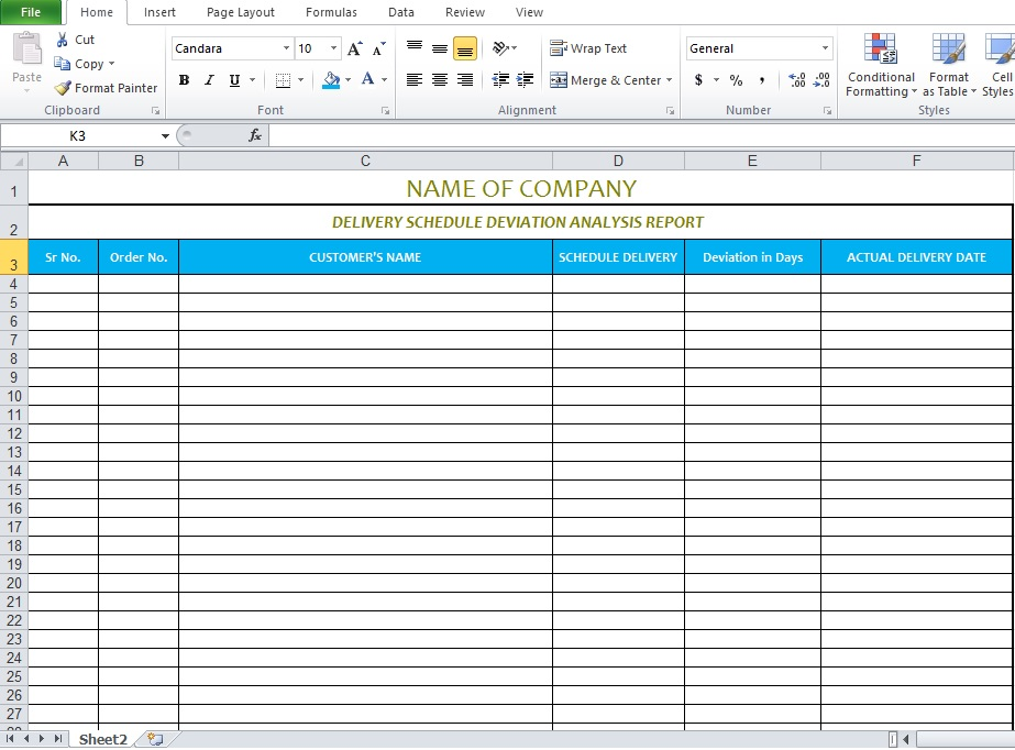 Delivery Schedule Template In Excel Format