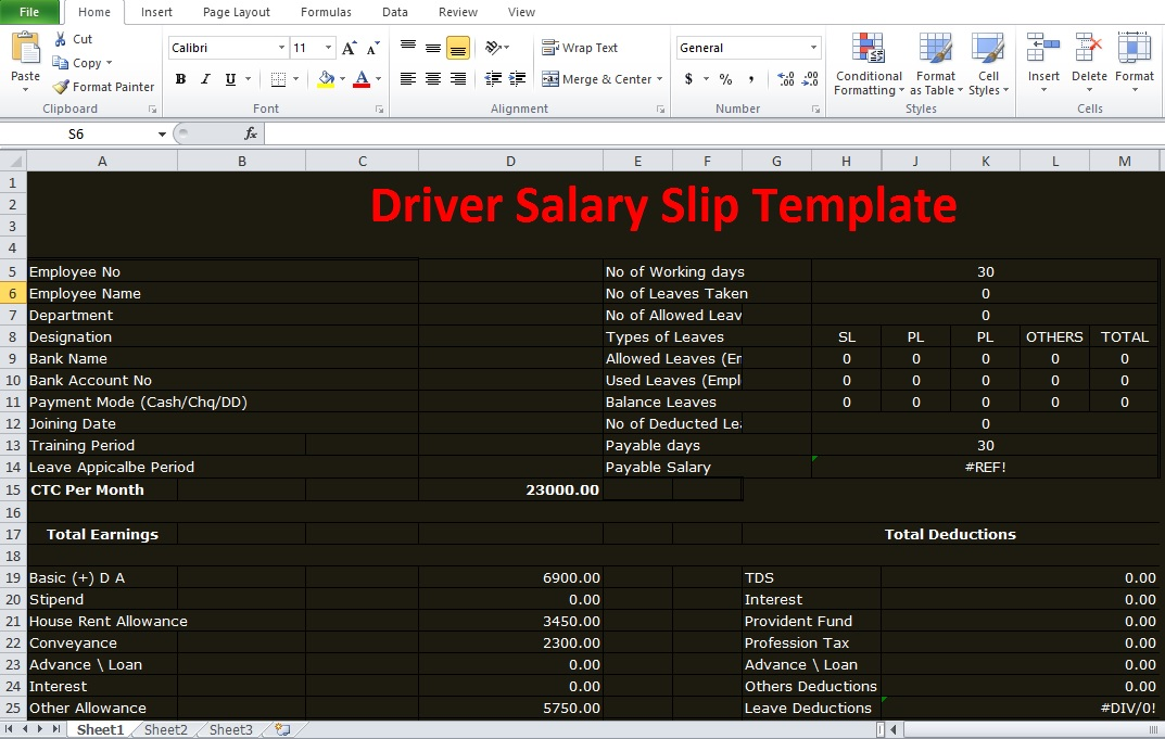 Driver Salary Receipt Excel Template