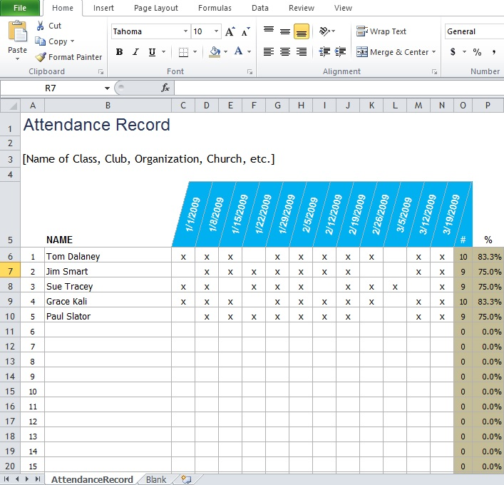 Attendance Sheet Template Excel For Employee Erkal