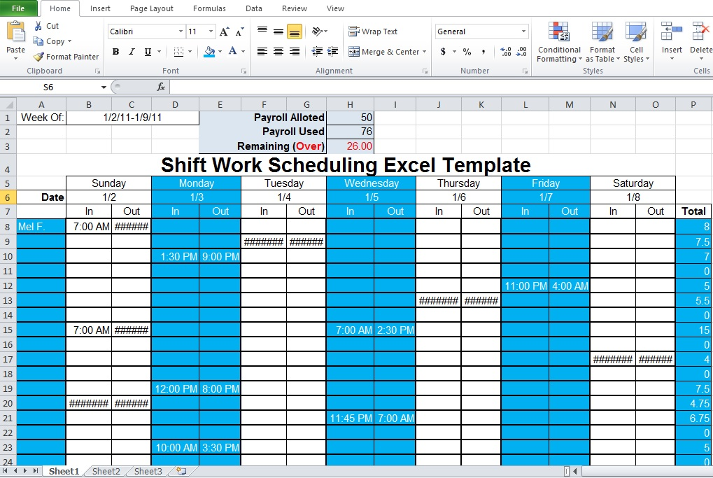 Weekly Employee Shift Schedule Template  TvsputnikTk