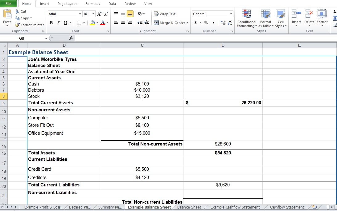 Example of Balance Sheet Excel Template