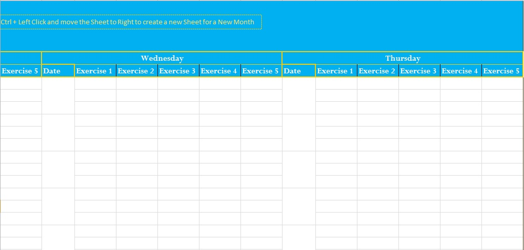 exercise log excel template