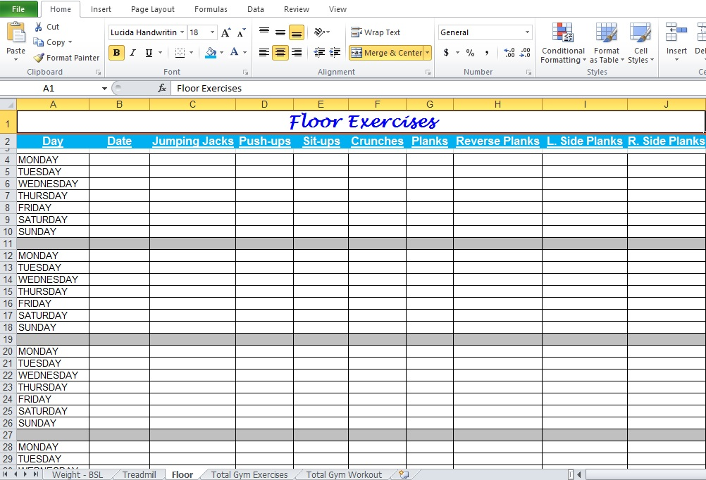 Gym Workout Plan Spreadsheet For Excel - Excel Tmp