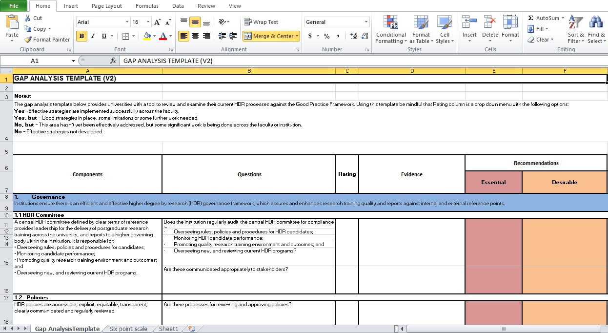 Gap analysis template excel excel tmp for Fit gap analysis template xls