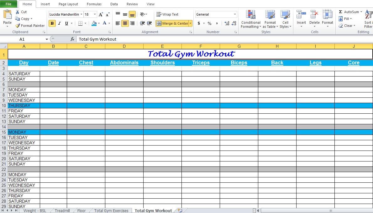 Gym Workout Plan Spreadsheet