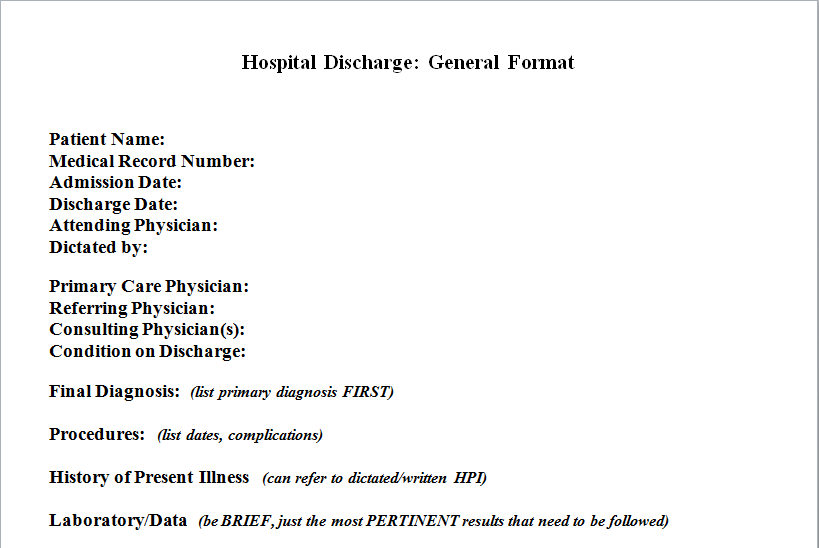 Hospital Discharge Template Download