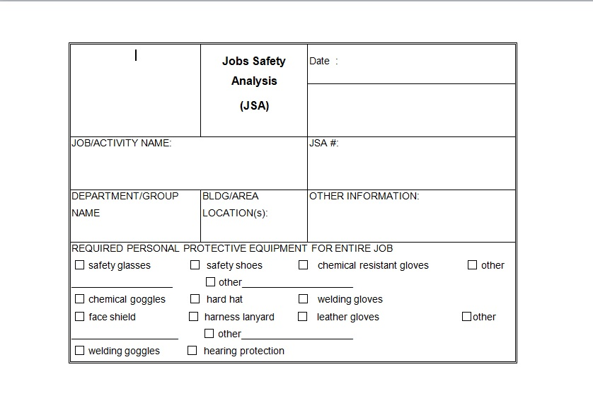 Job Safety Analysis Template Example