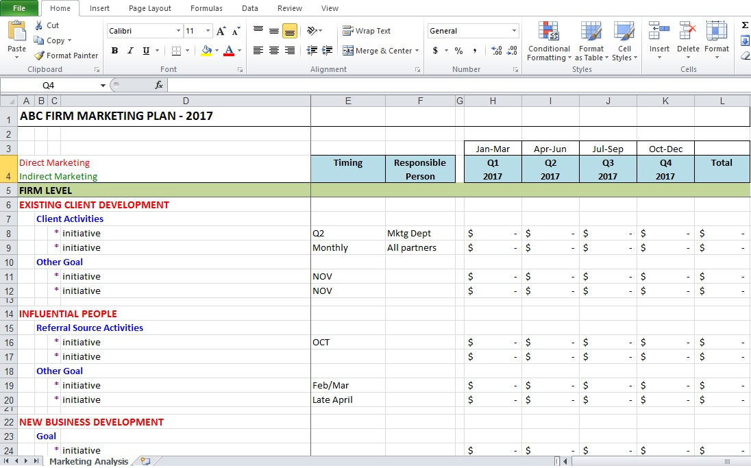 Marketing Analysis Excel Template