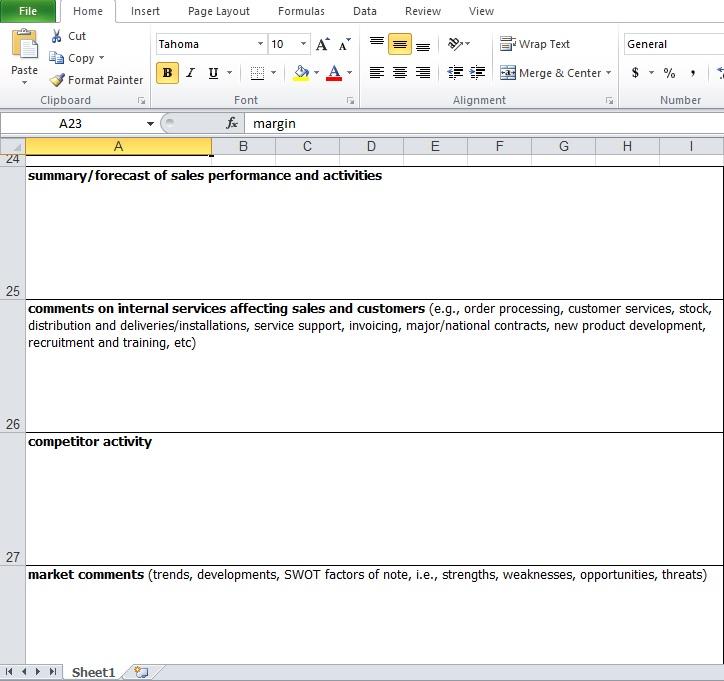 Mis Report Format In Excel