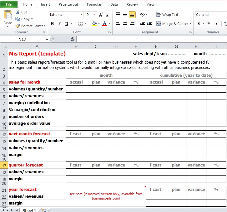 Mis Report excel template